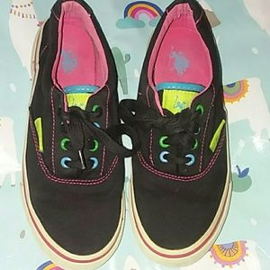 Shoes - U.S. Polo assn.Sz 6 blk, pink,blue,yellow sneakers